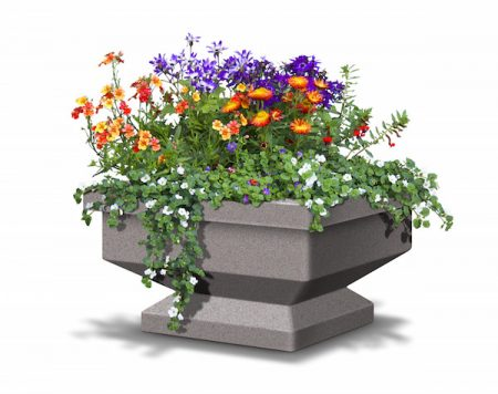 Pedestal self-watering-planters-industrial-community-flower-plant-pots-holders-desert-planters-low-water-consumption-pedestal-planted