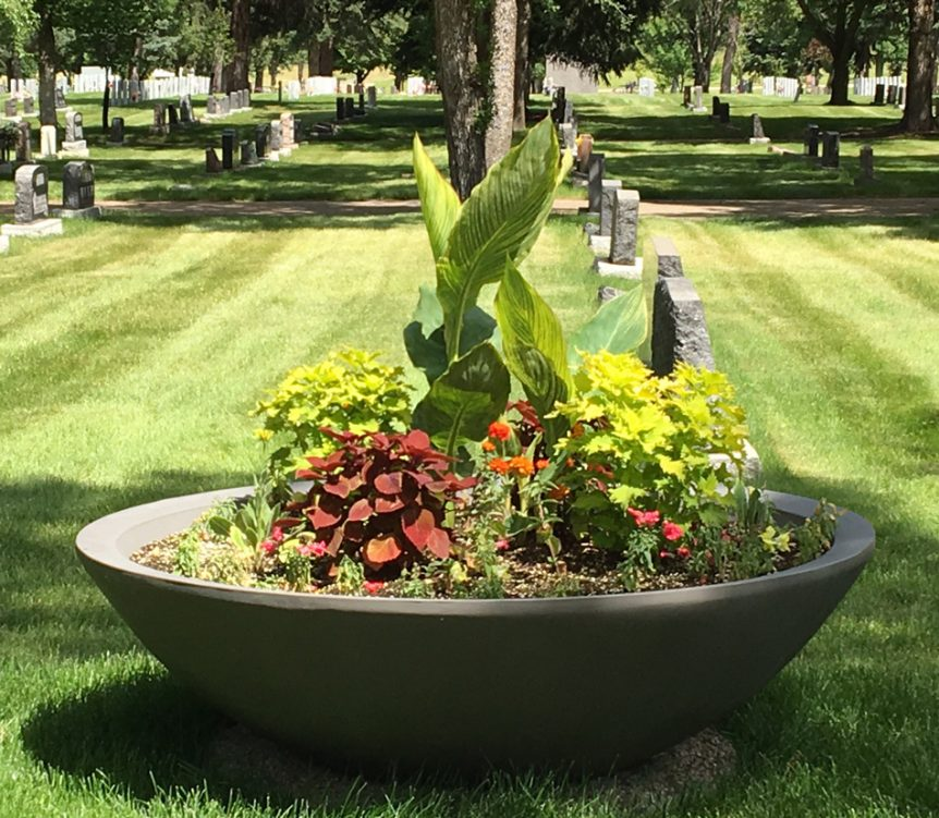 Plaza self Watering container - at cemetery location