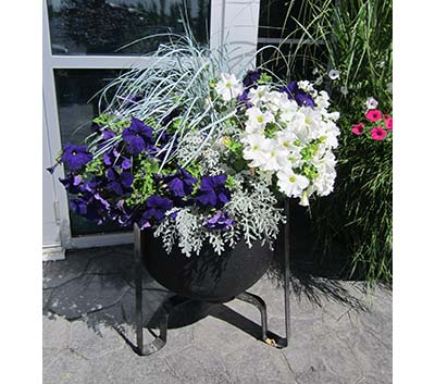 Gateway self watering planter with stand purple and white flowers