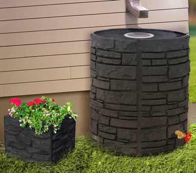 Sierra stone rain barrel & Sierra Stone square planter