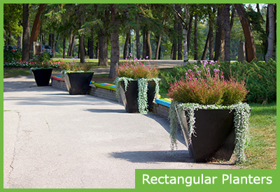 Rectangular Self Watering Commercial Planters