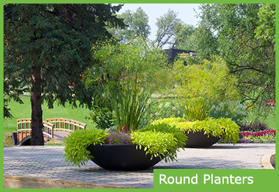 Round Self Watering Planters for Landscaping