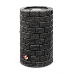 Brickworks Round Rainbarrel with Planter - Black