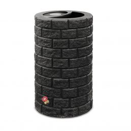 Brickworks-Round-Rainbarrel-with-Planter---Black